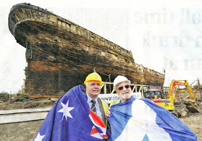 David Mann, left, of the Scottish Maritime Museum, and Peter Christopher of the Adelaide charity in front of the clipper